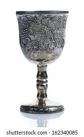 Old wine goblets on white background