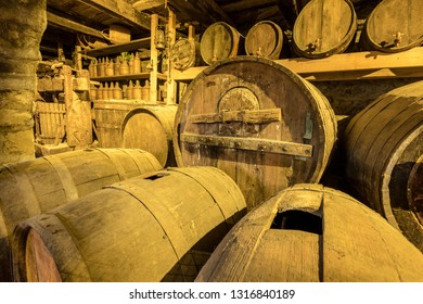old wine making barrels