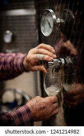Old winemakers hands pouring a glass of wine from modern inox tank
