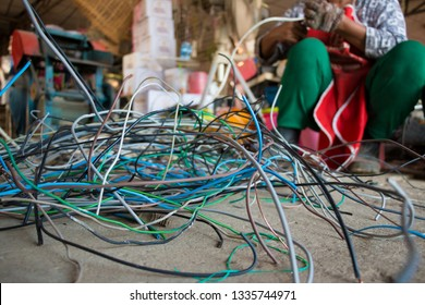 Old wires are being sorted for recycling.
