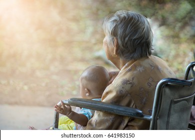 Old woman and baby Wait for someone
