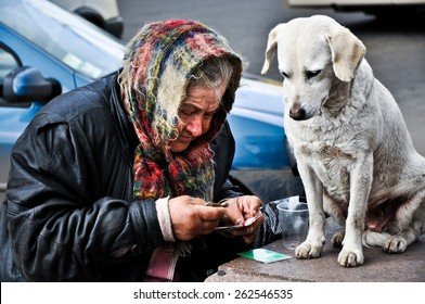 an old woman, a beggar, said money with the dog on the streets of Kiev