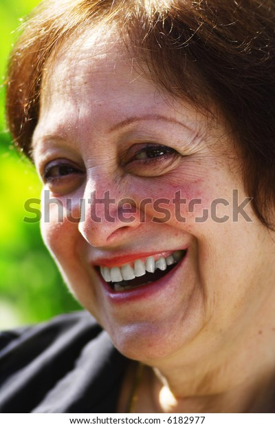 Old Woman with a Cheerful smile