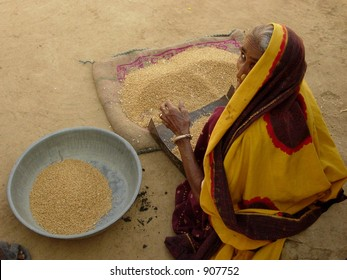 an old woman cleaning food grain in a village in india