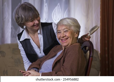 Old woman with a daughter.