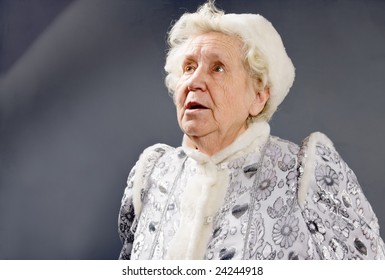 Old woman dressed as an Ice-Princess