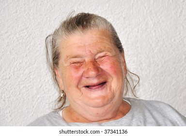 An old woman with good funny face
