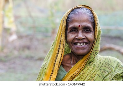 An old woman in an Indian village