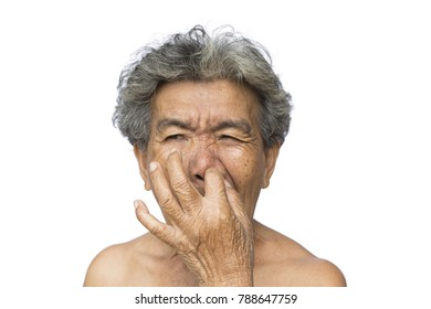 Old woman itching her face on white background, dermatitis and Illness of the elderly medical concept