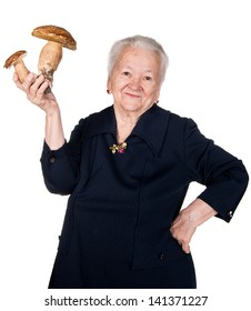 Old woman with mushrooms in hands on a white background