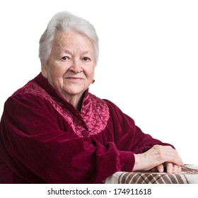 Old woman on a white background