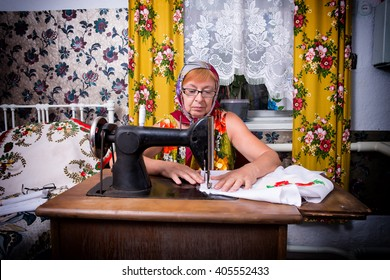 old woman sewing machine