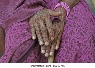 Old woman in the south of India.