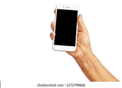 Old woman's hand holding smart phone on white background, isolate, clipping path