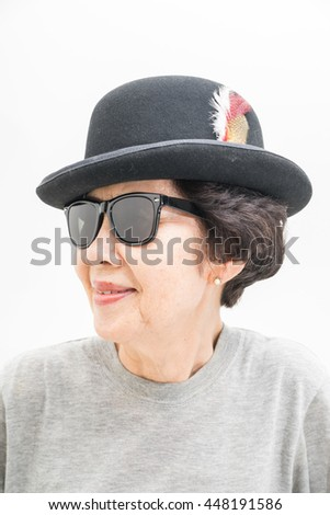 04ae75c8b874 Old Women Wear Hat Sunglasses Stock Photo (Edit Now) 448191586 ...