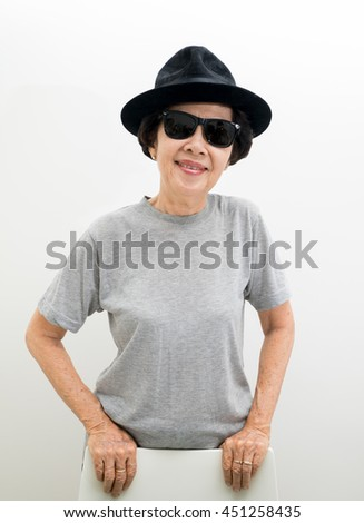0c0431bbb58a Old Women Wear Hat Sunglasses Smaillingasian Stock Photo (Edit Now ...
