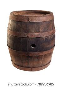 Old wood barrel isolated on white background