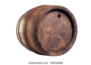 Old wood barrel isolated on white background