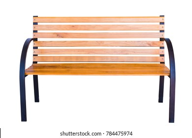 The old wood bench on white background