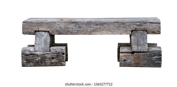 old wood bench from railway sleeper isolated on white background,include clipping path