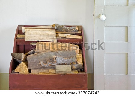 Old Wood Box Holding Firewood Beside Stock Photo Edit Now