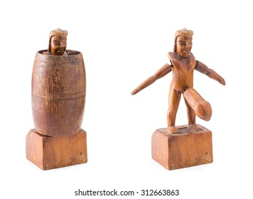 old wood carved barrel man, it's  traditional popular souvenir of Philippines