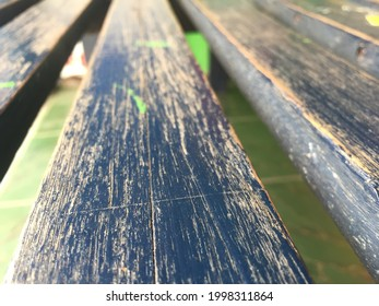 Old wood chair with aesthetic scratch blue pain make the detail great
