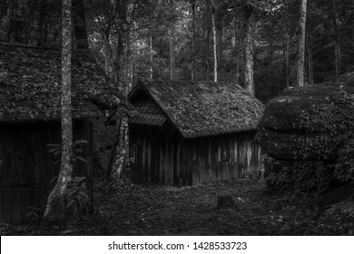 Old wood cottage in black and white, Political military school at Phu Hin Rong Kla National Park, Phitsanulok, Thailand