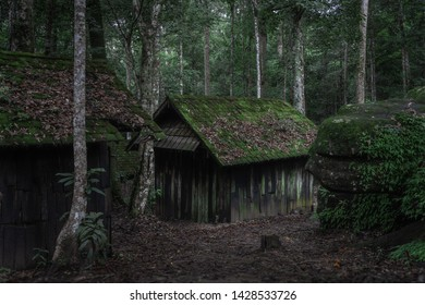 Old wood cottage, Political military school at Phu Hin Rong Kla National Park, Phitsanulok, Thailand