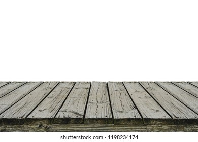 Old wood deck isolated on white background, for display or montage your products. Clipping Path Included.