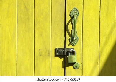 Old wood door texture background in morning
