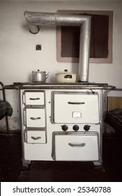 Old wood fire stove, interior