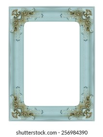 old wood frame and border on white background