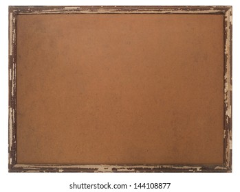 Old wood frame isolated on white.