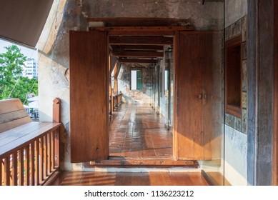 the old wood gate in bangkok