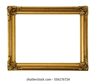 Old wood, gilded frame isolated on white