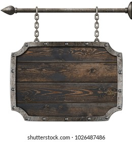 old wood medieval sign with chains 3d illustration