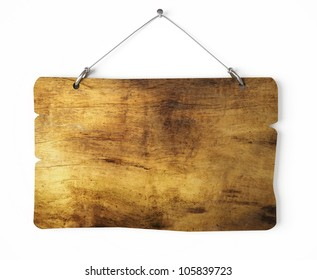 Old wood notice board isolated on white