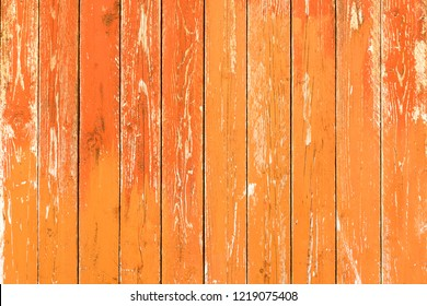 Old wood orange background - Vintage wooden table boards autumn colors vertical lines -