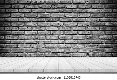 Old wood plank with abstract old brick wall background for product display with black and white filter