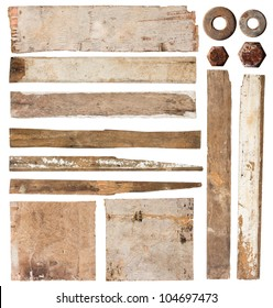 Old wood plank isolated on white background (Save Paths For design work)