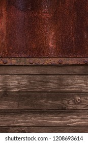 Old Wood plank and old metal panels background