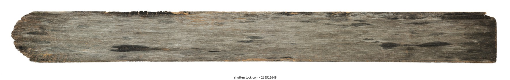 Old wood plank with texture isolated on white background.