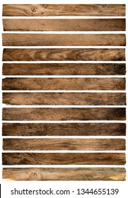 Old wood planks isolated on white background. Brown wooden texture.