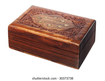 Old wood retro casket over white background