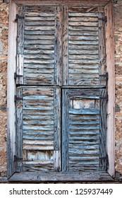 An old wood shutter window in Turkey