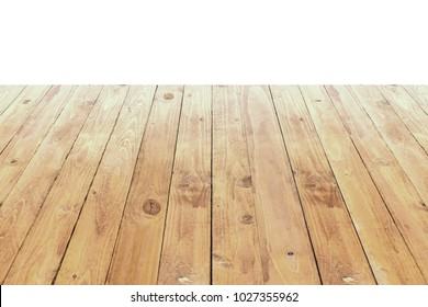 Old wood table on white background.