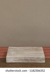 old wood table top isolated on wall background-can be used for display or montage your products