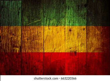 old wood texture and background, red, yellow, green, reggae style