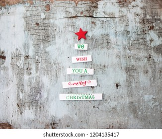 Old wood top view wooden christmass tree , Merry Christmas background